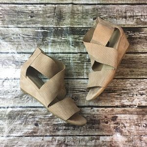 2a5268869352 Eileen Fisher Shoes - Eileen Fisher Kes 2 Perforated Suede Wedge Sandal